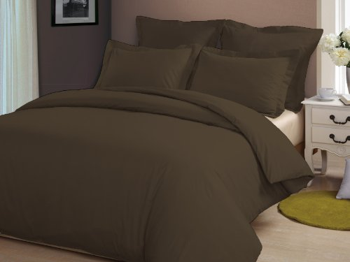 Congo Linen 810 Tc Italian Finish Egyptian Cotton Luxurious Sheet Set 810 Tc Solid ( Queen , Chocolate )
