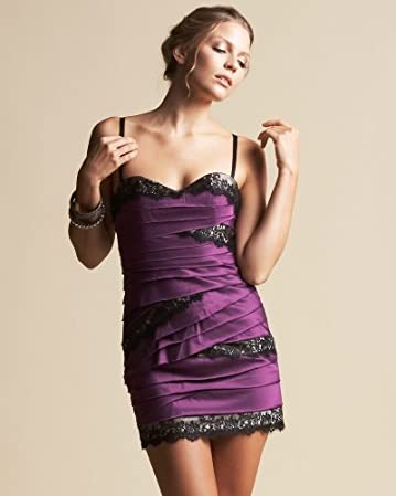 bebe Lacey Eggplant Sheath Dress