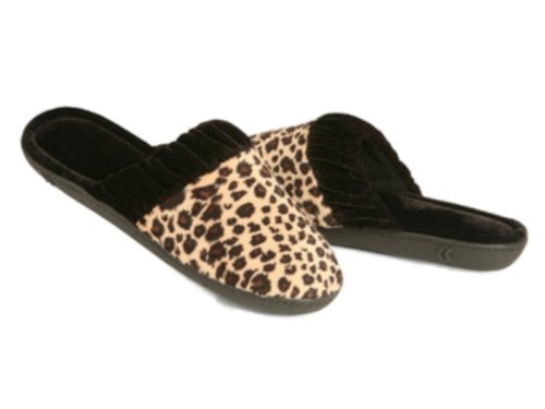 Cheap Isotoner Womens Plush Brown Leopard Print Slide On Slippers Scuffs Velour Shoes (B009VPHGQ6)