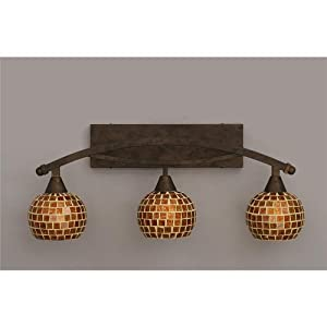 "Bow 3 Light Bath Vanity Light Finish: Bronze, Shade: 6"" Mosaic Glass"
