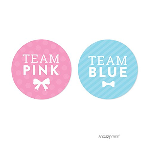 Andaz Press Team Pink Team Blue Gender Reveal Baby Shower Party, Round Circle Labels Stickers, Team Pink Team Blue, 40-pack, For Themed Party Favors, Gifts, Decorations (Baby Blue Party Supplies compare prices)