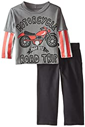 Gerber Graduates Baby Boys\' Motorcycle Long Sleeve Top and Black Pant Set, Motorcycle, 18 Months