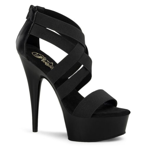 6 Inch Black Elastic Straps Enclosed Heel Sandals