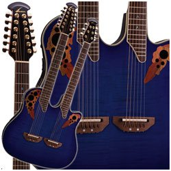 lowest price ovation celebrity deluxe doubleneck cse225 acoustic electric guitar blue flame. Black Bedroom Furniture Sets. Home Design Ideas