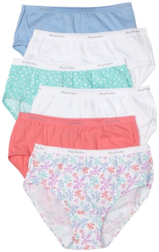 Fruit of the Loom Women's 6-Pack Cotton Low Rise Brief Panties