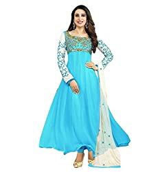 Samay Creation Sky Blue Georgette Embroidered Semi-stitched Anarkali Dress Materials