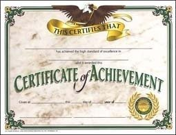 Hayes Achievement Certificate, 8-1/2 X 11 in, Paper, Pack of 30 - 1