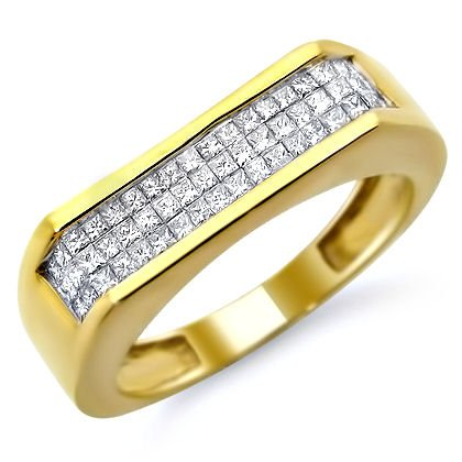 Mens .90Ct Princess Cut Diamond Wedding Ring Band Yellow Gold
