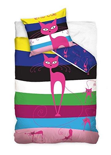 Maxi & Mini-Gatto Rosa biancheria da letto parure copripiumino 160x 200+ federa 70x 80Déco Oha Stripes The Cat 100% cotone