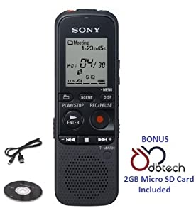 Sony Professional Digital 2GB MP3 Voice Recorder with Memory Card Slot, Noise Cut Technology Reducing Background Sound, USB Port, Built-in Speaker and an Easy-to-read Display *BONUS* DB-Tech 2GB Micro SD Card Included