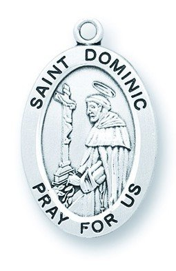 St. Dominic Pendant Oval Sterling Silver with Chain