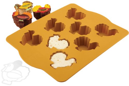 Chicago Metallic Silicone Turkey Cakelet Pan And Stencil