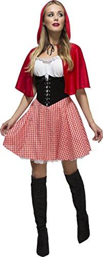 Fever Kollektion Rotkäppchen Kostüm mit Kleid Unterrock und Umhang mit Kapuze, Large
