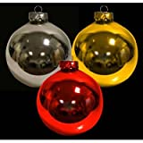 Christmas Decoration 4 x 100mm Glass Baubles RED