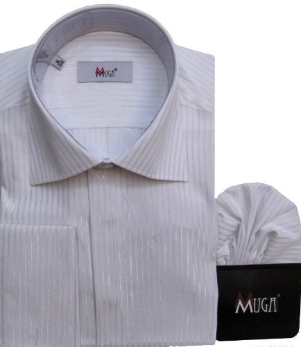 MUGA mens French-Cuff Dress shirt with silver striped, White, Size 4XL