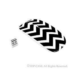 TopCase Chevron Series Black USB Optical Wireless Mouse for Macbook (pro , air) and All Laptop + TopCase Designed Chevron Mouse Pad