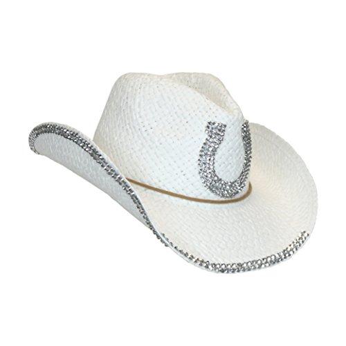 White Rhinestone Horseshoe Straw Cowboy hat ca8a3f6a6a9