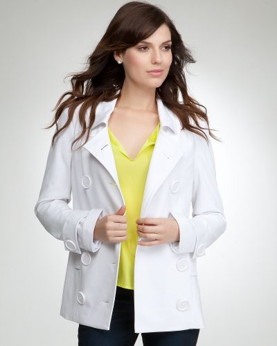 Bebe Double Breasted Ponte Peacoat White Size Large