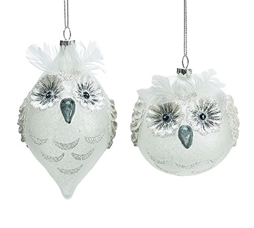 Christmas Holiday Round and Finial Glass Snow Owl Ornament Set