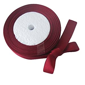 "OurWarm Dark Red 5/8"" 15mm Wide Satin Ribbon 25Yard Birthday Party/Craft/Wedding Favors Bow Scrapbooking Decor (75FT)"