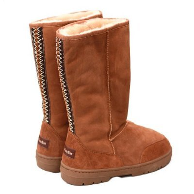Luxury Tall Australian Twin faced Sheepskin Boots from Wombat - Chestnut Colour ( Size 3)