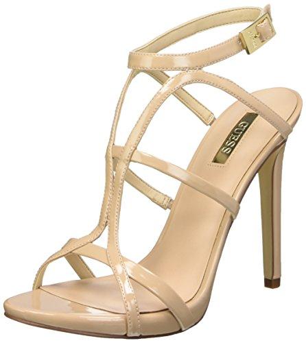 Guess Adalee2 Patent Pu Sandali con cinturino alla caviglia, Donna, Beige (Nude), 36