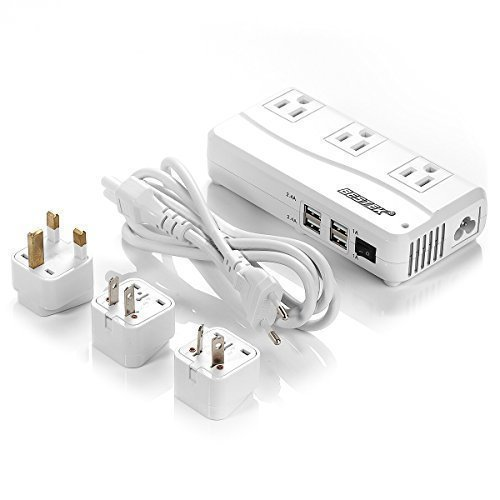 Travel Adapter, BESTEK International 220V to 110V Converter with Interchangeable Worldwide UK/US/AU/EU Plugs and 6A 4 USB Ports