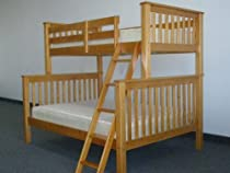 Hot Sale Bedz King Bunk Bed, Twin Over Full Mission Style, Honey