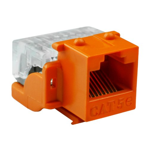 Mediabridge Cat5E Connector - Punch-Down Rj45 Insert For Keystone Wall Plate - 5 Pack - Orange