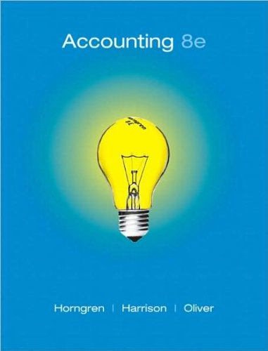by Walter T. Harrison Jr.,by M. Suzanne Oliver,by Charles T. Horngren Accounting, Chapters 1-23, Complete Book (8th Edition)(text only)8th (Eighth) edition[Hardcover]2008