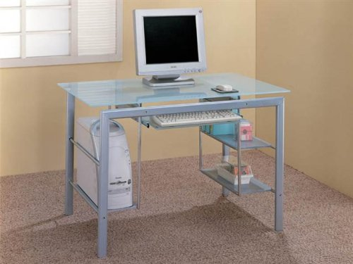 Functional Metal & Glass Home Office Storage Computer Desk