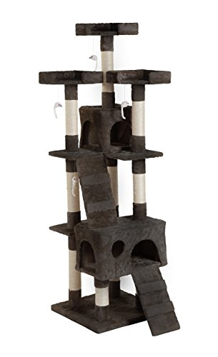 eSecure Large 3 Platform Cat Tree Scratching Post Activity Centre - Brown or Beige