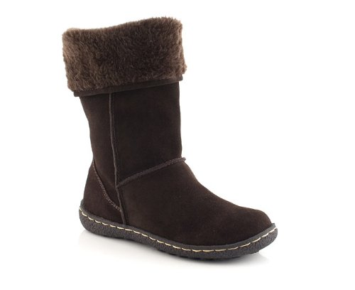Barratts Womens Chocolate Suede Fur Lined Boot
