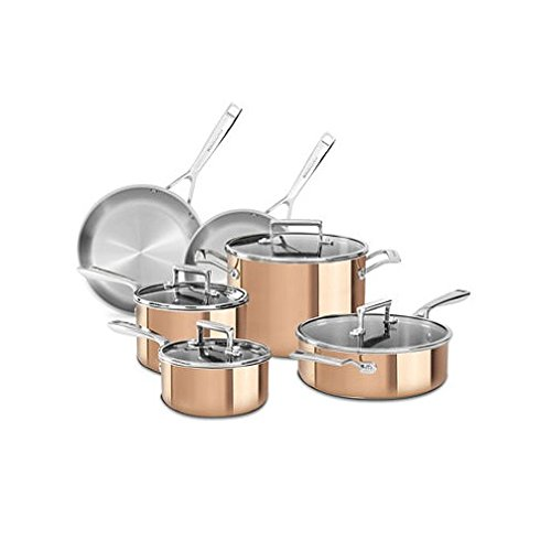KitchenAid Copper CLAD Tri-Ply 10-Piece Cookware Set KC2PS10CP (Kitchenaid Triply compare prices)