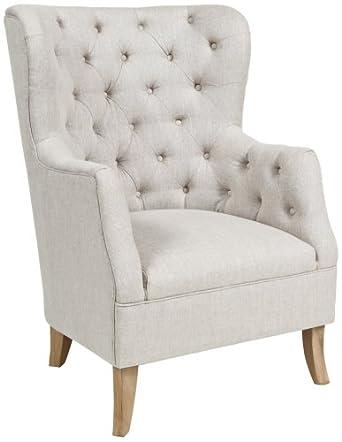 Cafer Light Cream Fabric Club Chair