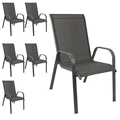 6er Set Gartenstuhl stapelbar Gartensessel Stapelstuhl Stapelsessel Stahlgestell pulverbeschichtet mit Textilenbespannung Anthrazit von WOHAGA auf Gartenmöbel von Du und Dein Garten