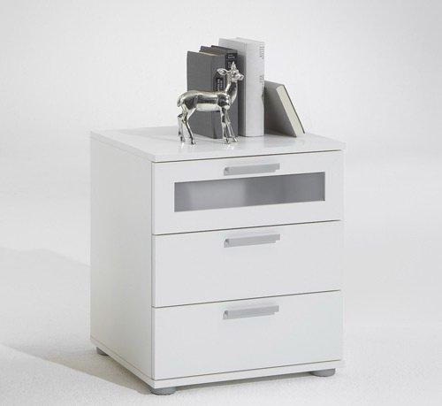 Nachttisch in Weiß mit 3 Schubkästen, oberer Schubkasten mit Milchglaseinsatz, Maße: B/H/T ca. 45/53,5/38 cm günstig online kaufen