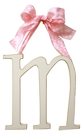New Arrivals Wooden Letter M with Pink Polka Dot Ribbon, Cream