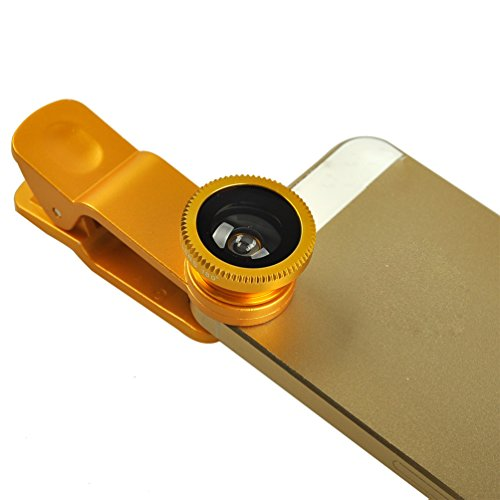 Luxsure®Fish Eye Lens+Wide Angle Lens+Macro Lens 3-in-1 Kit for Apple iPhone 6 4 4S 5 5C 5S 4 3GS iPad Samsung Galaxy S4 S3 S2 Note 3 2 1 Sony Xperia L36h L38i HTC ONE Motorola Smartphones-Gloden