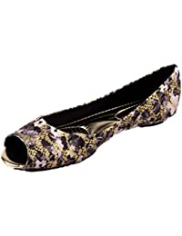 Moda Brasil Floral Fabric Lace Multi-Coloured Ballet Flats For Women