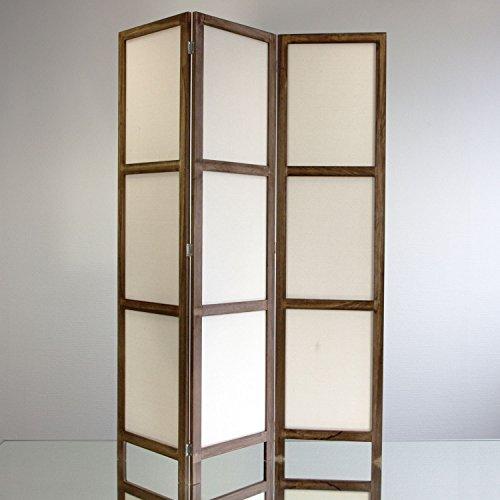 NEG-Paravent-RIGEL-braun-166x126cm-RaumteilerSichtschutz-aus-echtem-Paulownia-Holz-mit-Baumwollbespannung