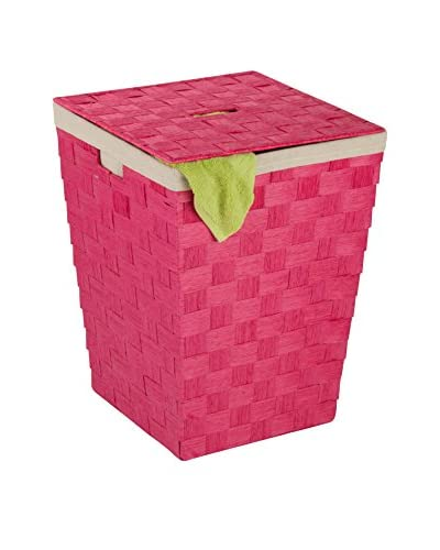 Honey-Can-Do Woven Hamper with Liner, Pink