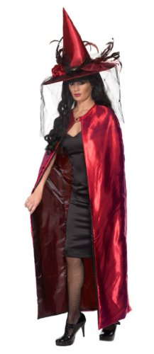 Smiffy's Women's Reversible Cape Deluxe, Black/Red, One Size