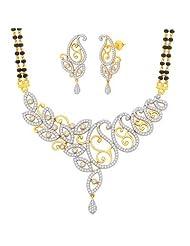 "M GOLD Valentine 18 Karat Gold Plated Cubic Zirconia ""Parinaya"" Mangalsutra Earrings Set"