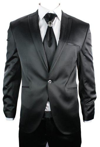 Mens Black Shiny Wedding Party Suit Blazer, Trouser & Cravat Design Lapels Slim Fit