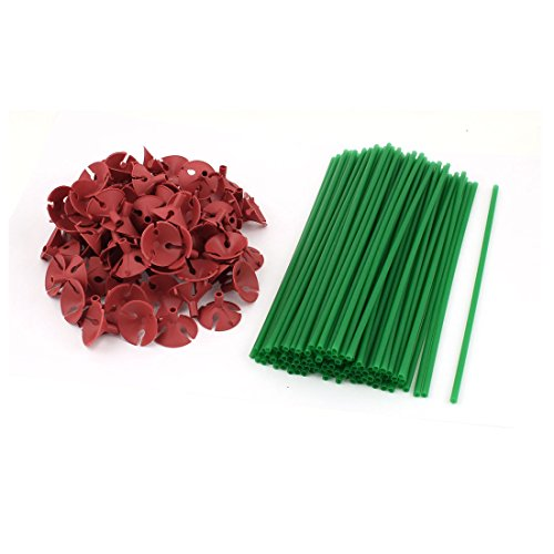 100 Pcs Party Festival Decor Plastic Green Balloon Sticks Cups Red