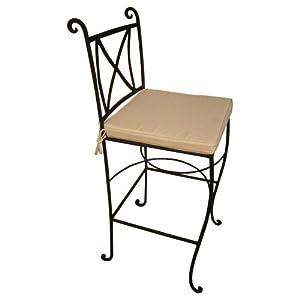 Chaise haute carree en fer forge avec coussin Chaises hautes cuisine