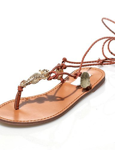 LFNLYX Scarpe Donna-Sandali-Tempo libero / Formale / Casual-Aperta / Con cinghia / Toe ring / Decolleté con cinturino / Alla schiava-Piatto- , brown , us8 / eu39 / uk6 / cn39