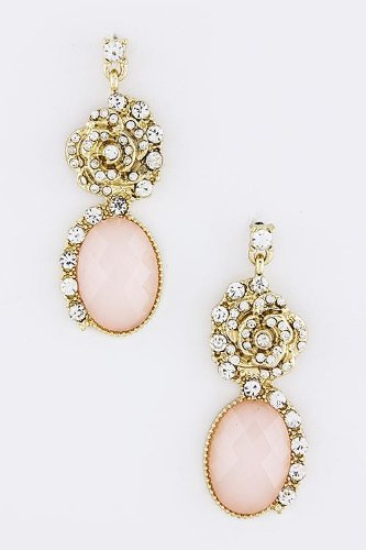 Baubles & Co Rose Crystal Oval Jewel Earrings (Pink) front-967102