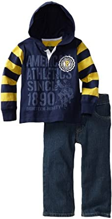 U.S. POLO ASSN. Boys 2-7 Hooded Top with Jean, Navy, 2T